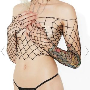 Fish net top and thong set from Dollskill